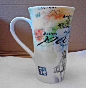 Paris 16 oz. Coffee Mug Latte 222 Fifth Dishwasher and Microwave Eiffel Tower