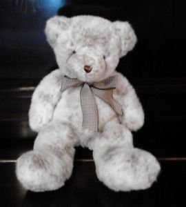 """Soft, Plush Teddy Bear White w/Brown Specks and Checked Brown Bow 16"""" Vermont"""