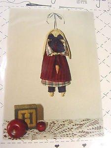 Primitive Pattern Folk Art Bunny TieTillie Rabbit Fabric Doll Sew raggedy Cloth