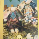 Bunny Rabbit Pattern primitive Folk Art Easter Cloth Fabric sew Eggspectations