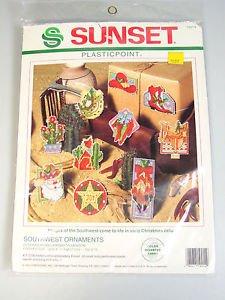 Cross Stitch Christmas Ornaments Southwest cowboy boots, hat, cactus, Santa