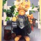 stuffed Bunny Rabbit pattern Love Garden Cloth primitive Folk Art Fabric HS37