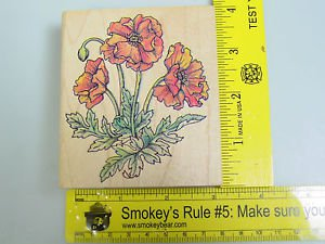 Rubber Stamp Poppy Poppies Flowers Botanical card making Rubber Stampede