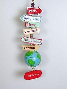 See The World Traveler Signs Ornament Bon Voyage Graduation gift Kurt Adler
