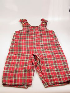 Talbots Kids Toddler Boy Red Plaid Flannel Overalls Size 18 Months snap legs