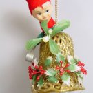 MCM Christmas decoration Knee hugger pixie elf wind chime plastic filligree bell
