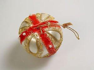 Vintage Satin Velvet Christmas Ornament Embellished MCM Xmas Vintage Japan
