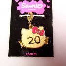 Sanrio Hello Kitty 20 years pendant charm zipper pull yellow metal 2007