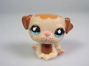 Littlest Pet Shop toy #1753 Pug Puppy Dog Mocha Cream Freckles Blue Eyes