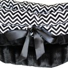 Snuggle Bugs - Black Chevron - Dog Pet Bed + Bag + Car Seat in One