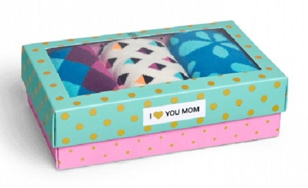Happy Socks 3 Pair Gift Box Set for Women Size 9-11 Crew Socks