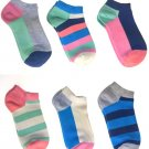 Happy Socks Women's Low Cut Ankle Socks 6 Pair Stripes and Solids Size 9-11