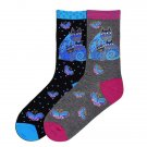 Women's Indigo Cat Socks by K Bell Laurel Burch Collection Size 9-11 One Pair