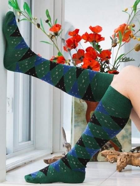 Eve Hunter Argyle Knee High Organic Cotton Socks for Women by Rock N Socks
