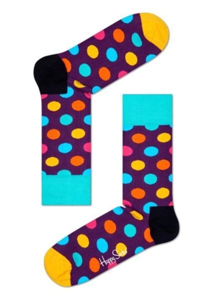 Big Dot Happy Socks for Men Size 10-13 One Pair