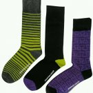 Jonathan Adler Men's Premium Crew Socks Green Black Purple 3 Pair Size 10-13