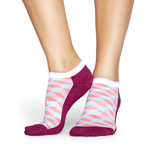Happy Socks Women's Filled Optic Athletic Low Cut Ankle Socks Size 9-11 One Pair