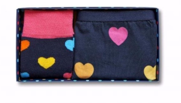Happy Socks Heart Socks With Matching Panties Gift Box Size 9-11