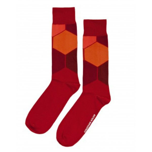 Men's Casual Crew Socks By Jonathan Adler One Pair Size 10-13 Orange Red