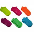 Women's Neon Bright No Show Ankle Socks 6 Pair Size 9-11