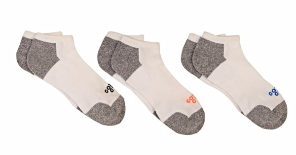 Golds Gym Men's No Show Ankle Socks White and Gray 3 Pair Size 10-13