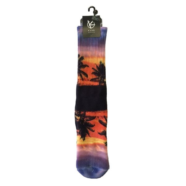 Men's Sunset Palm Tree Crew Athletic Socks by Kurb One Pair Size 10-13