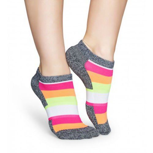 Happy Socks Women's Neon Stripe Athletic Low Cut Ankle Socks Size 9-11 One Pair