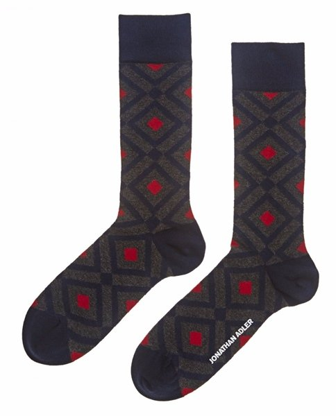 Jonathan Adler Men's Bo Bo Diamond Crew Socks One Pair Size 10-13