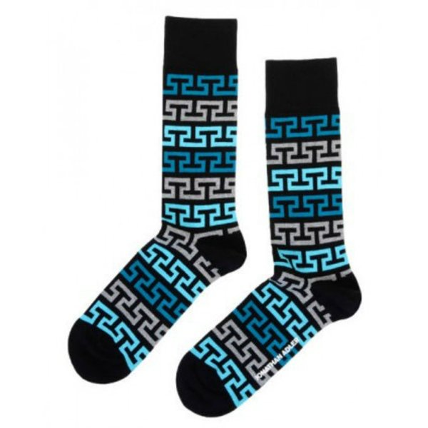 Men's Greek Tooth Crew Socks By Jonathan Adler One Pair Size 10-13