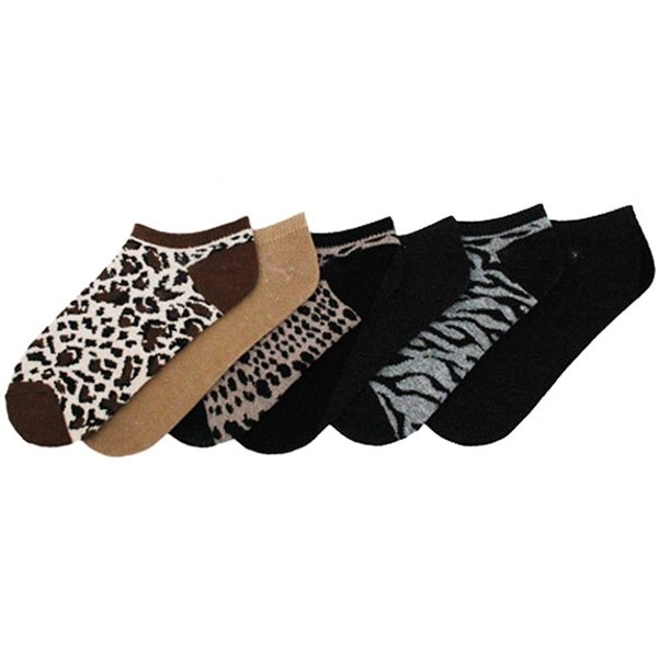 Animal Print Low Cut Ankle Socks for Women 6 Pair Size 9-11 Brown Black Gray