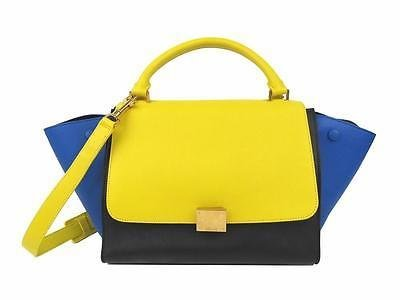Authentic CELINE Trapeze Luggage Shoulder Bag Handbag Calfskin Leather Yellow