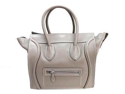 Auth CELINE Mini Luggage Tote Bag Calfskin Leather Shoulder Handbag Gray SHW