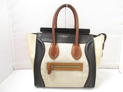 Authentic CELINE Mirco Luggage Handbag Tote Bag Leather Ivory Navy Black
