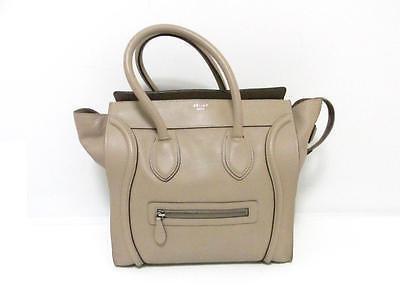 Authentic CELINE Mini Luggage Handbag Tote Bag Calfskin Leather Beige