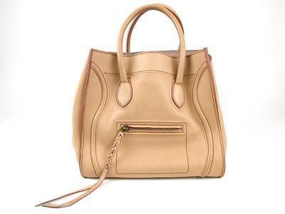 Auth CELINE Phantom Luggage Small Square Tote Bag Leather Handbag Beige