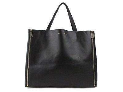 Authentic CELINE Horizontal Cabas Tote Bag Shoulder Handbag Leather Black