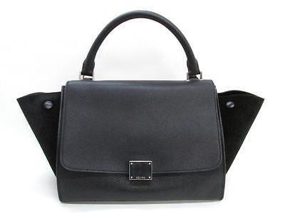 Auth CELINE Trapeze Luggage 2-Way Shoulder Bag Handbag Suede Leather Black
