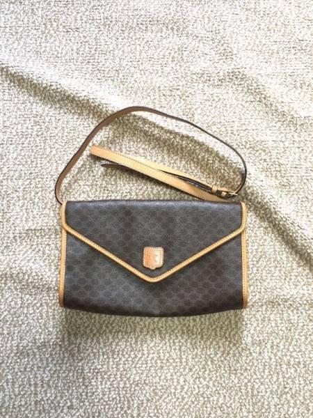 Celine Shoulder Bag Macadam Brown Leather