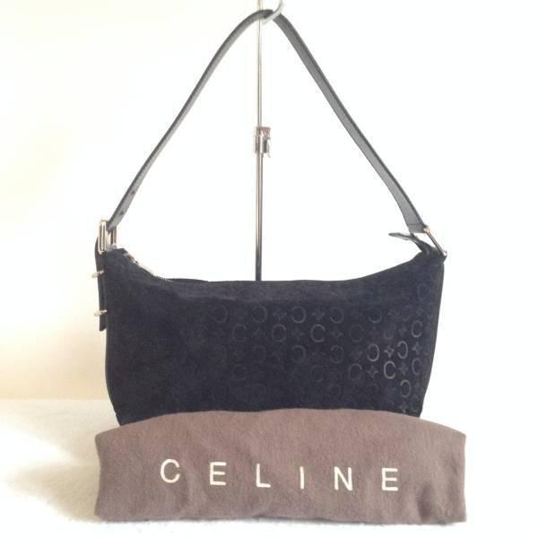 Celine Suede Logo Shoulder Bag
