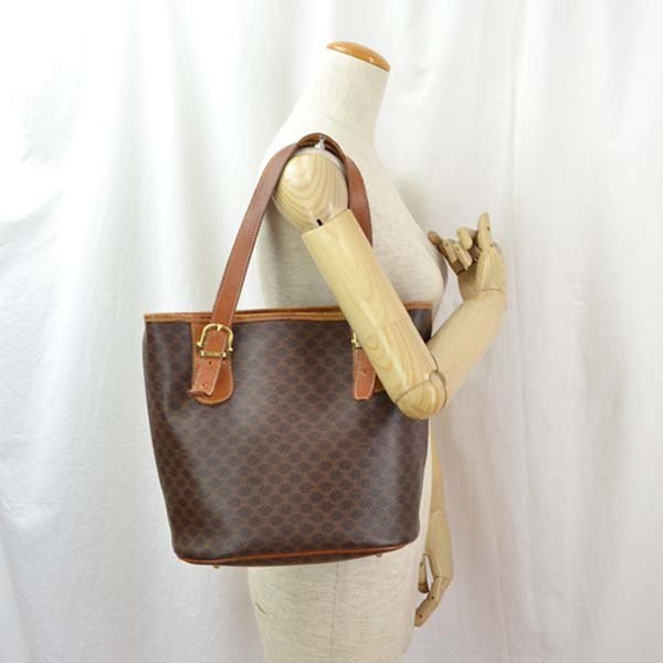 Celine Leather Shoulder Bag Macadam Pattern Brown