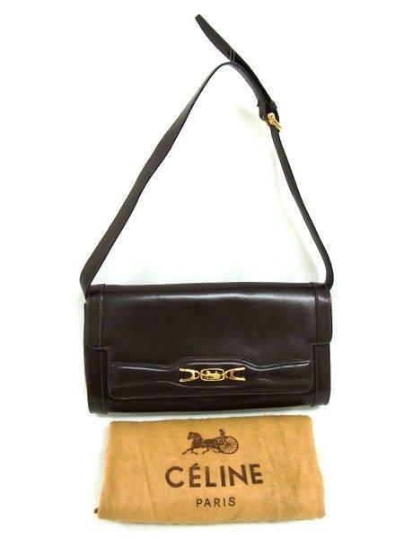 Celine Carriage Vintage 2way Leather Shoulder Bag Tea