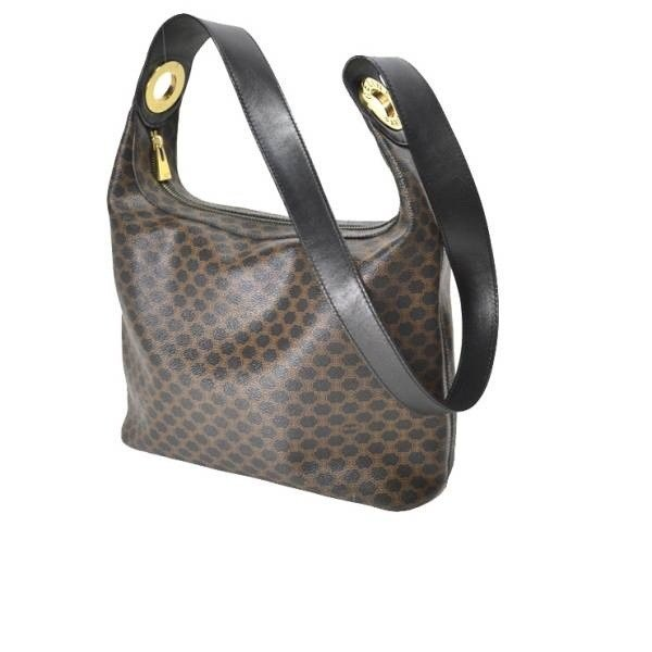 Celine Leather Macadam pattern shoulder bag