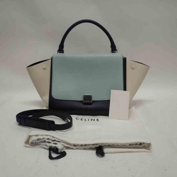 Celine Leather Trapeze Blue � White � Black