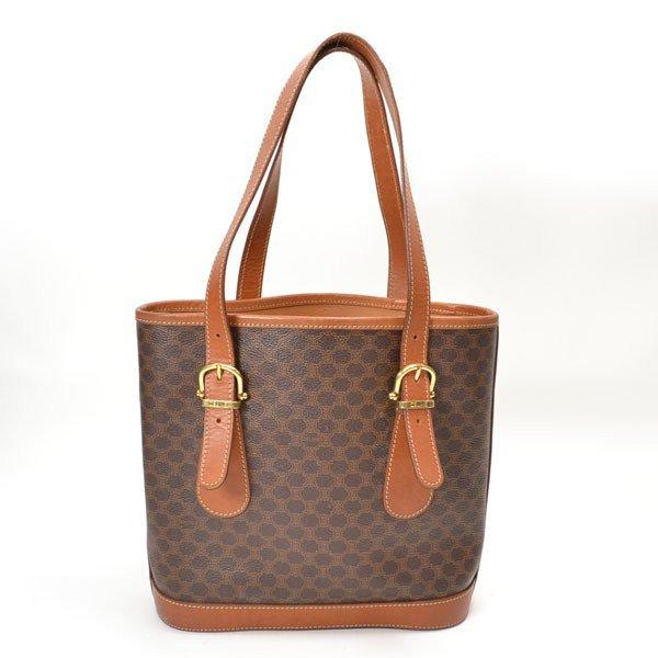 Celine Leather Macadam Pattern Shoulder Bag Brown