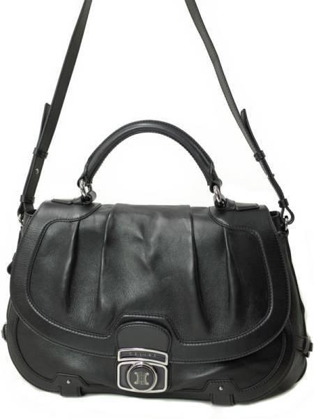 Used Celine Shoulder Bag Black Leather Bag With Hand