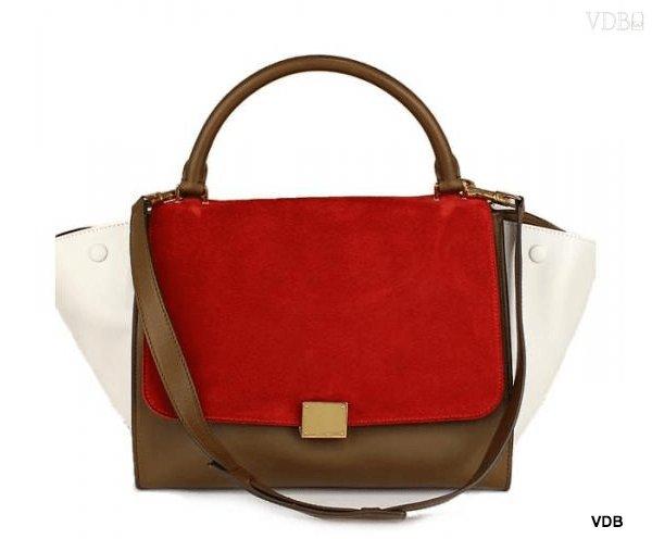 Celine trapeze 2WAY handbag khaki & red