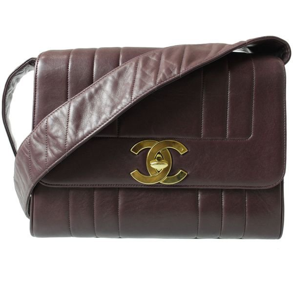 Authentic Chanel Quilted CC Logos Shoulder Bag Leather Bordeaux