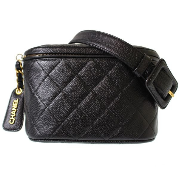 Authentic Chanel Quilted Bum Bag Belt Caviar skin Leather Black