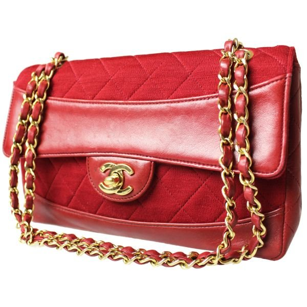 Authentic Chanel Matorasse Chain Shoulder Bag Leather Canvas Red