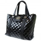 Authentic Chanel Tote Hand Bag Enamel Leather Black